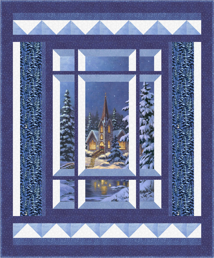 Modern window silent night quilt pattern bs2 473 advanced for Window pane quilt design