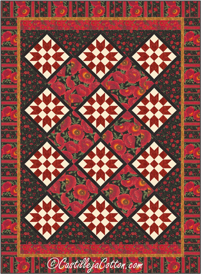 Twin Quilt Patterns Free : Sisters Garden Twin Quilt Pattern CJC-46915 (advanced beginner, twin)