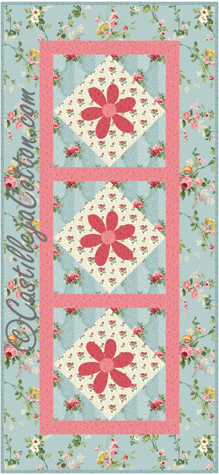 Daisy table runner pattern cjc 49541 advanced beginner for Table runner quilt design