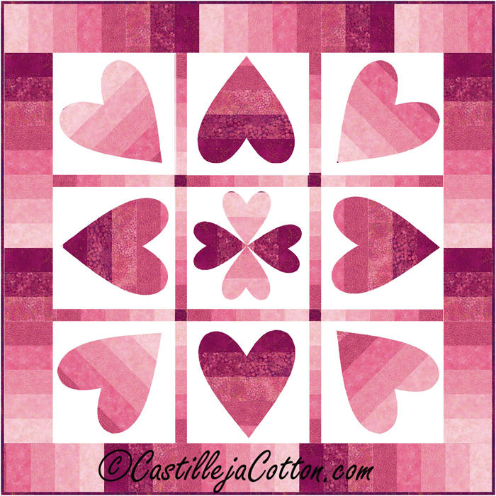Turning Hearts Quilt Pattern CJC60 Advanced Beginner Wall Hanging Delectable Heart Quilt Pattern