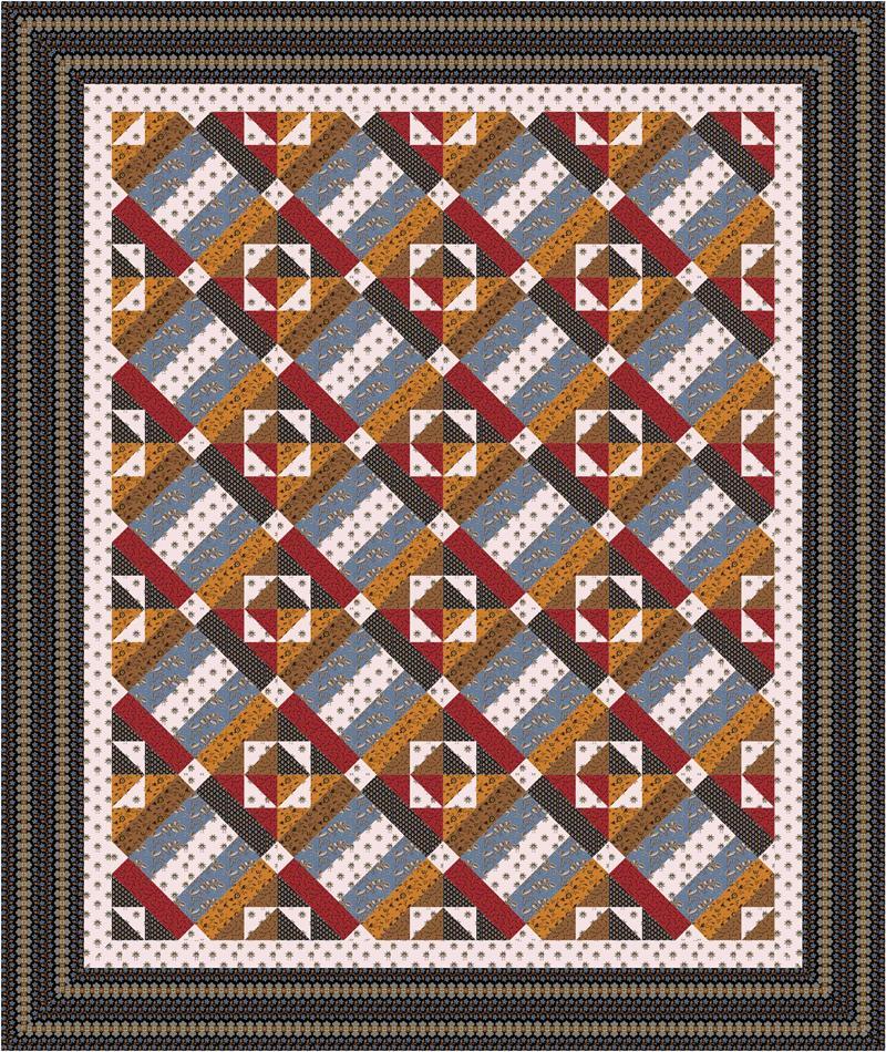 Intermediate Quilting Patterns : Spencer Creek Quilt Pattern CMQ-105 (Intermediate, Throw, Twin, Full)
