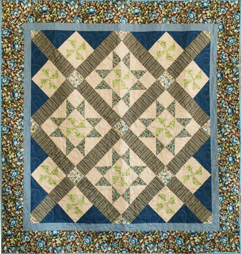 Intermediate Quilting Patterns : Turning Stars Quilt Pattern CMQ-120 (intermediate, lap, throw)