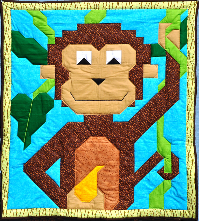 Monkey Quilt Pattern CQ-051 (advanced beginner, lap and throw) : monkey quilt pattern - Adamdwight.com