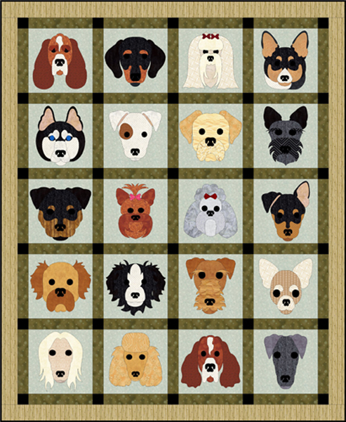 Dog Days Quilt Pattern FCP60 advanced beginner wall hanging Gorgeous Dog Quilt Patterns