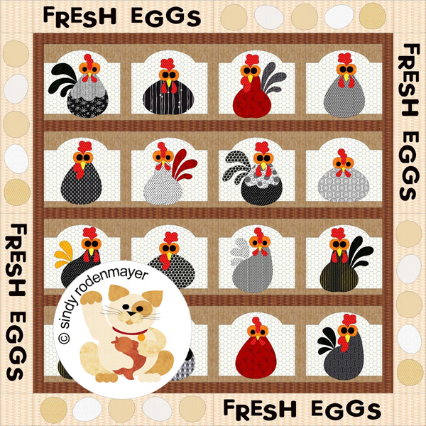 Cackle Berry Farms Quilt Pattern FCP40 Advanced Beginner Double Simple Chicken Quilt Pattern