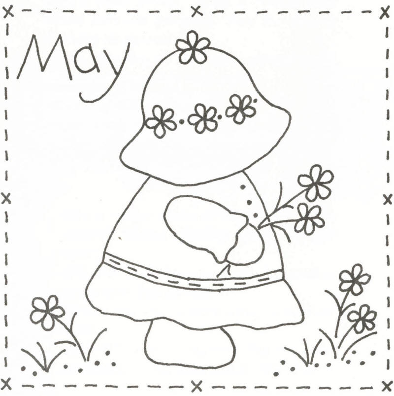 Sunbonnet Sue BOM May Stitchery Pattern LQCS40 Advanced Beginner Awesome Sunbonnet Sue Patterns