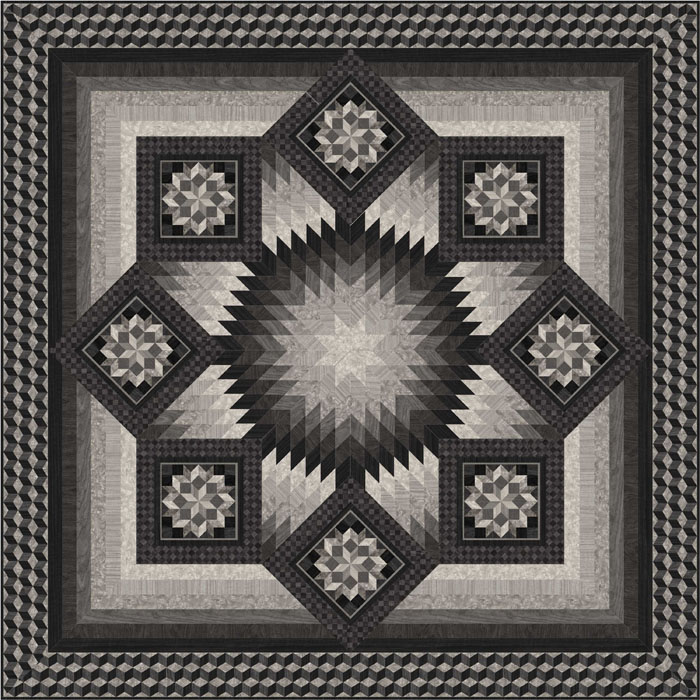 Intermediate Quilting Patterns : Inlaid Quilt Pattern PC-174 (intermediate, lap and throw)