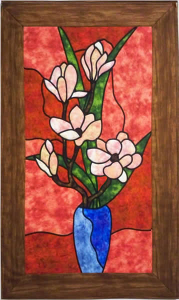 Magnolia Quilt Pattern PES-101 (intermediate, stained glass, wall ... : magnolia quilt - Adamdwight.com