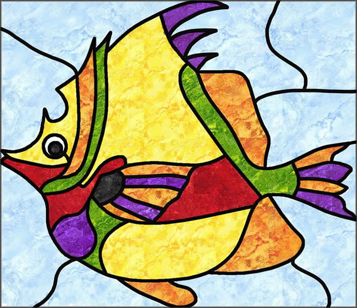 Fish Stained Glass Quilt Pattern PES-106 (intermediate, wall hanging)