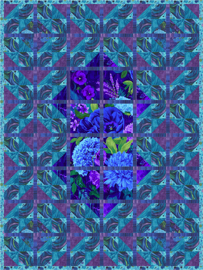 Intermediate Quilting Patterns : Blue Velvet Quilt Pattern PS-934 (intermediate, lap and throw)