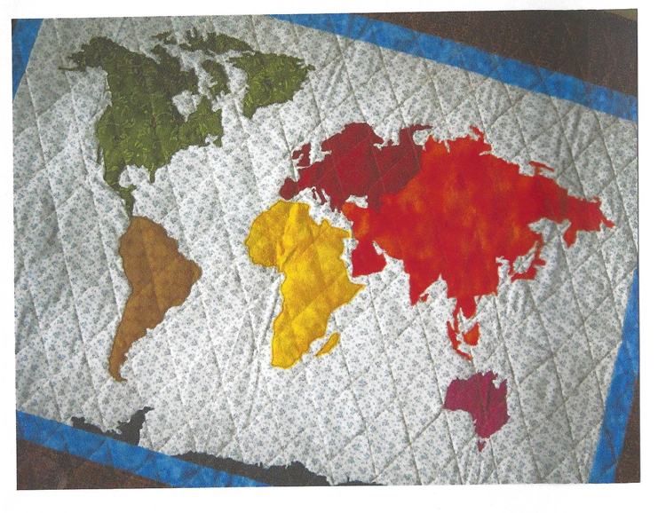 World Map Quilt Pattern.Our World Patchwork Map Quilt Qbe 109e Advanced Beginner Lap Baby