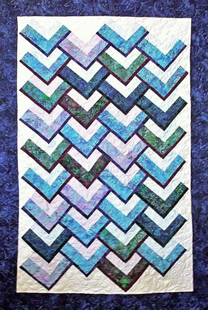 Quilting Designs For Chevron Quilts : Chevron Falls Quilt Pattern TQS-66 (advanced beginner, lap and throw, twin, home decor ...