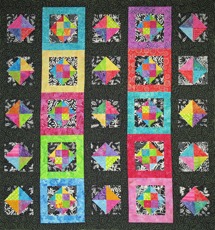 Intermediate Quilting Patterns : Midnight in the Tropics Quilt Pattern SM-154 (intermediate, lap and throw)