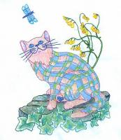 Plaid Cats in My Garden BOM - Block 10 Embroidery Pattern BCC-PC10