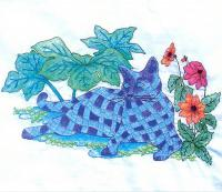 Plaid Cats in My Garden BOM - Block 12 Embroidery Pattern BCC-PC12