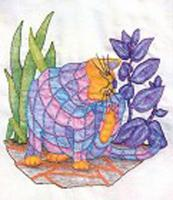 Plaid Cats in My Garden BOM - Block 6 Embroidery Pattern BCC-PC6