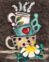 Stacked Coffee Cups Wool Needle Felting Pattern BS3-108