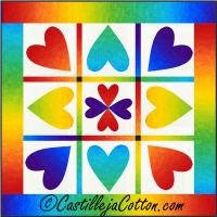 Rainbow Hearts Quilt Pattern CJC-5113