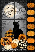 Black Cat and Pumpkins Wall Hanging Pattern CJC-55071