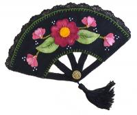 Plum Blossom Beaded Wool Fan GTD-111