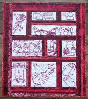 My Favorite Mystery Redwork Embroidered Wall Hanging Pattern JL-107