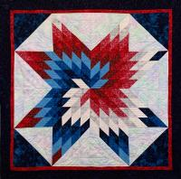 Red, White and Blue Spiral Star Quilt Pattern KCS-RWBSS