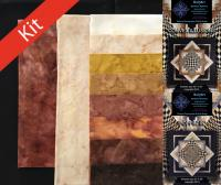 Convex Illusions and Poppin In Quilt Kit-Brown Batik Solids KWA-112K