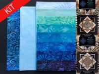 Convex Illusions and Poppin In Quilt Kit-Marine Blues KWA-114K