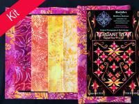 Elegant Star Quilt Kit-Red, Pink, Orange, Peach, Yellow KWA-118K