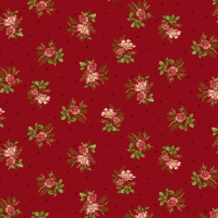 Savannah Garden Fabric -Red with Flowers LQC-858988