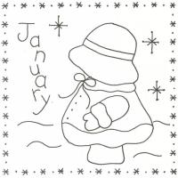 Sunbonnet Sue BOM - January Stitchery Pattern LQC-S1