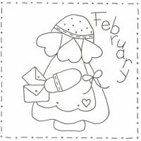 Sunbonnet Sue BOM - February Stitchery Pattern LQC-S2