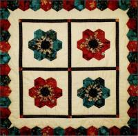 Hexie Blossom Quilt, Pillows and Bed Runner Pattern LSC-1602