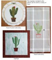 Desert Cactus Punch Needle/Hand Embroidery or Applique Design NDD-701