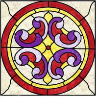 Victorian Scroll Stained Glass Quilt Pattern PES-102