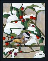 Chickadee & Holly Stained Glass Pattern PES-121S