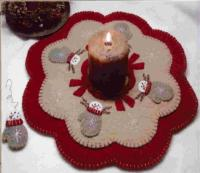 Snow Mittens Penny Rug Candle Mat Pattern PLP-108e