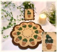 Irish Blooms - St.Patricks Day Penny Rug Candle Mat Pocket Set Pattern PLP-133e