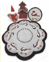 Cheerful Chickadees Penny Rug Candle Mat Pattern PLP-155e