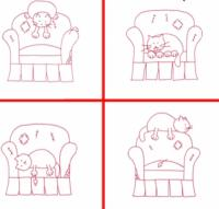Comfy Kitties #2 Embroidery Pattern QLD-158e