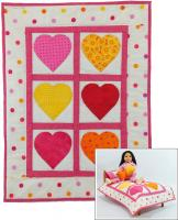 Hearts Doll Quilt, Pillow, Pillowcase and Stuffie Pattern RDH-02