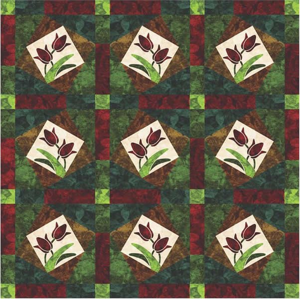 Jeweled Tulip Quilt Pattern Yf 109 Intermediate